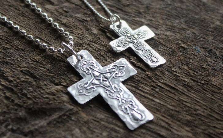 His & Hers Personalised Silver Cross Necklace Set