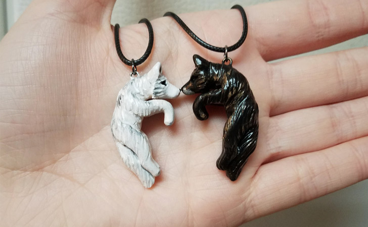 His & Hers Wolf Love Necklace - Matching Necklaces For Couples