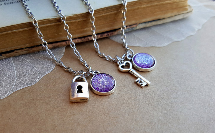 Ice Purple His And Hers Padlock And Key Pendants