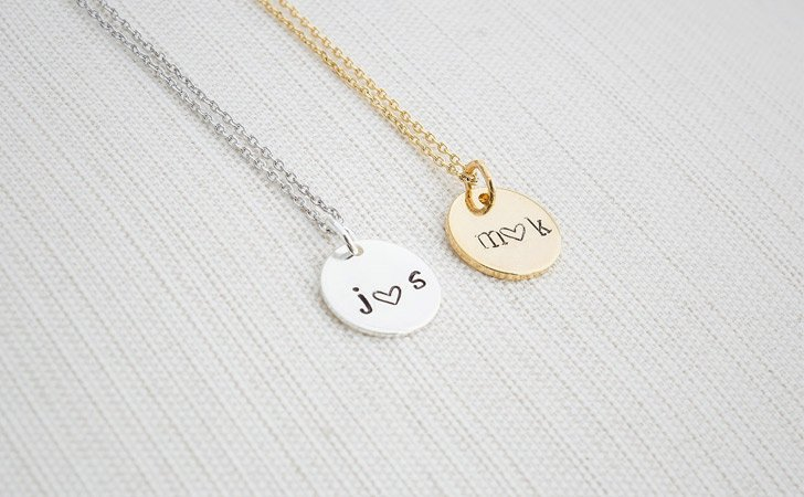 Matching Personalised Initial Disc Necklaces