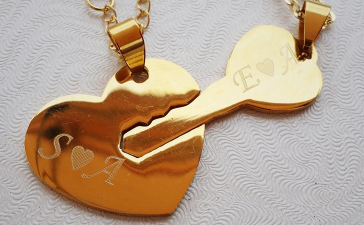 Personalised Heart & Key Necklace Set - Matching Necklaces For Couples