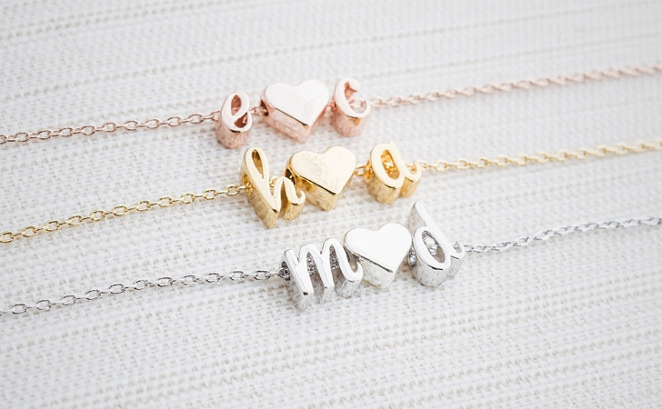Personalised Initial + Heart Symbol Pendants