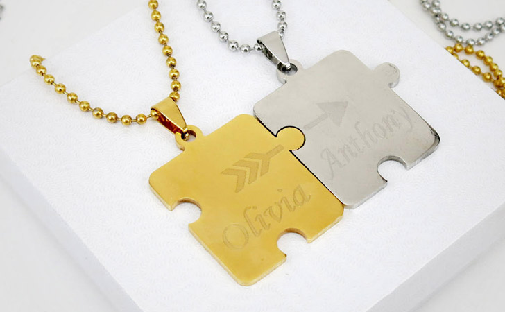 Personalised Puzzle And Arrow Couples Necklaces