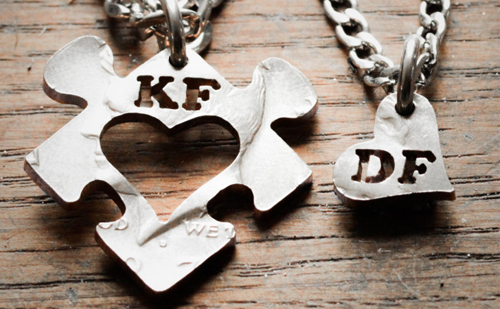Personalised Puzzle Heart Insert Couples Necklace Set