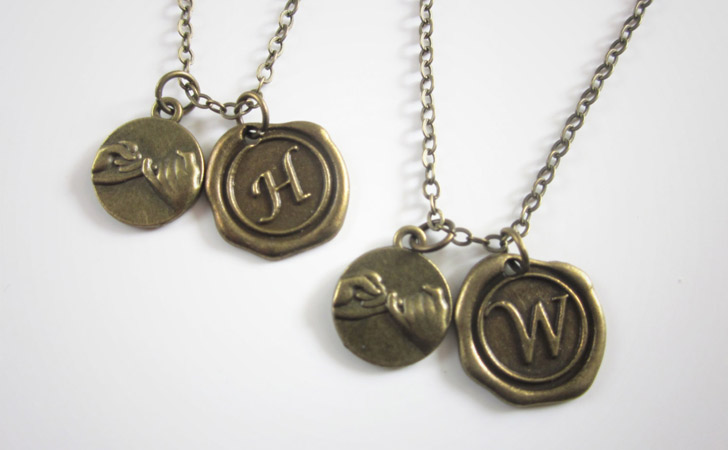 Pinky Promise With Wax Seal Couples Necklace Set