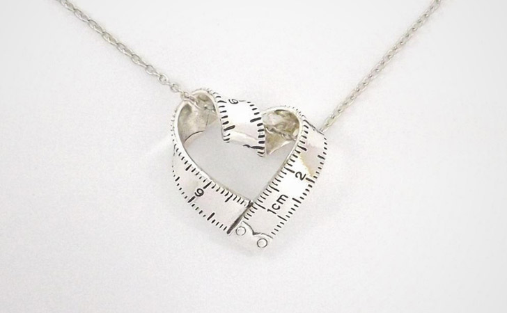 Quirky Tape Measure Heart Necklace
