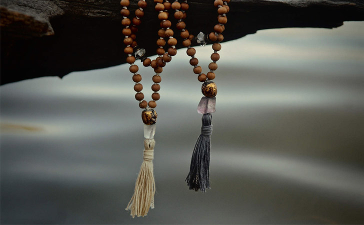 Sandalwood & Herkimer Diamonds Beaded Couples Necklaces