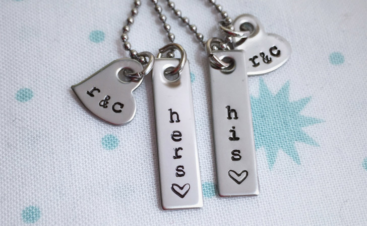 Simple Custom Made His And Hers Necklace Set - Matching Necklaces For Couples