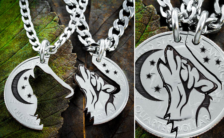 Tribal Wolf Moon Etched Coin Necklace