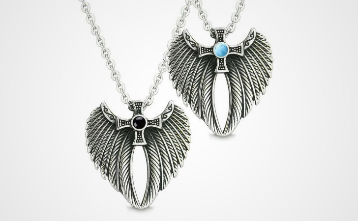 Turquoise & Onyx Celtic Angel Wings Necklaces Set