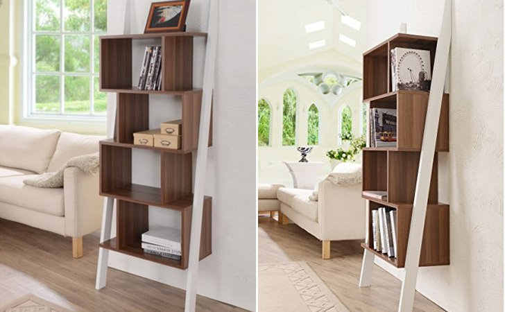 Contemporary 5 Shelf 2tone Bookshelf Display Stand