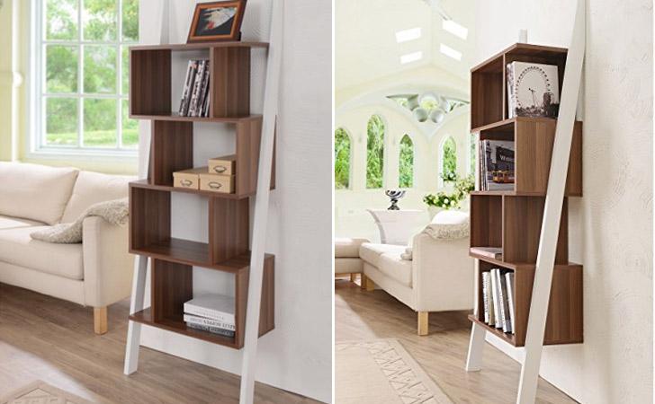 Contemporary 5 Shelf 2tone Bookshelf Display Stand