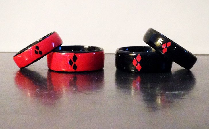 Custom Engraved Stainless Steel Harley Quinn Inspired Rings