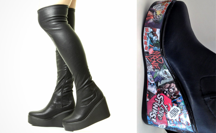 Customised Decoupage Over Knee Boots