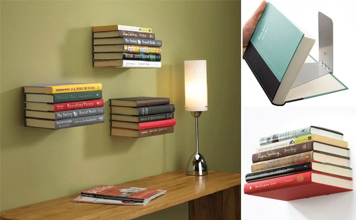 floating invisible bookshelves - Weird Bookshelves