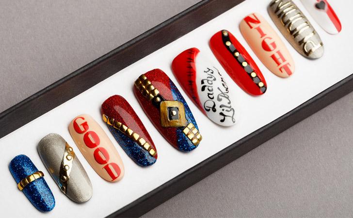 Harley Quinn False Press On Nails - Harley Quinn Costume Accessories