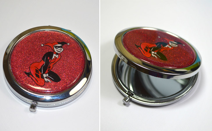 Harley Quinn Hand Painted Mirror Compact