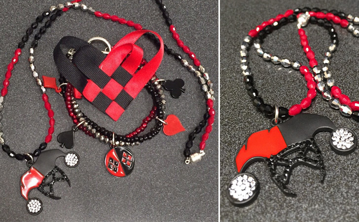 Harley Quinn Necklace, Bracelet & Bow Combo
