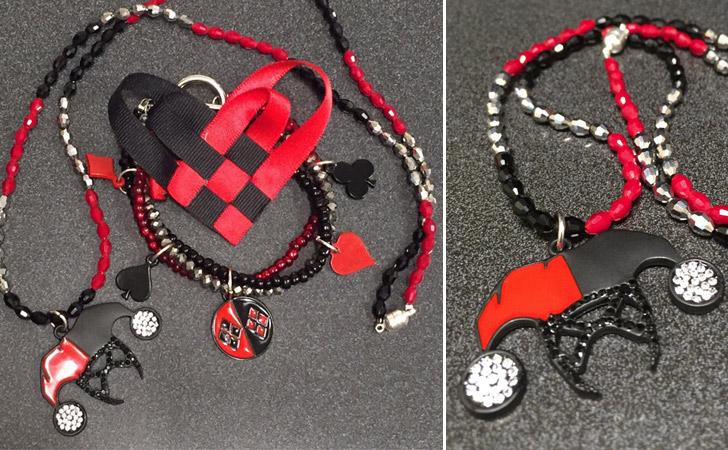 Harley Quinn Necklace, Bracelet & Bow Combo