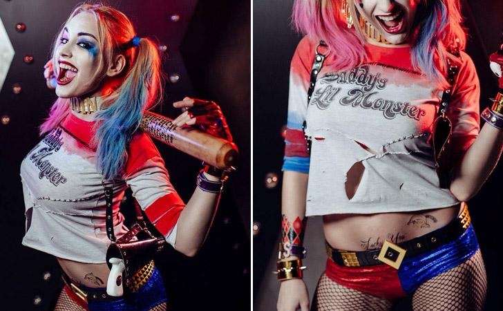 Harley Quinn T Shirt, Shorts And Glove Combo