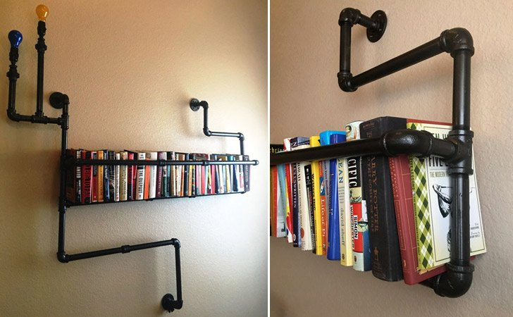 industrial pipe bookshelf - Funky Bookshelves