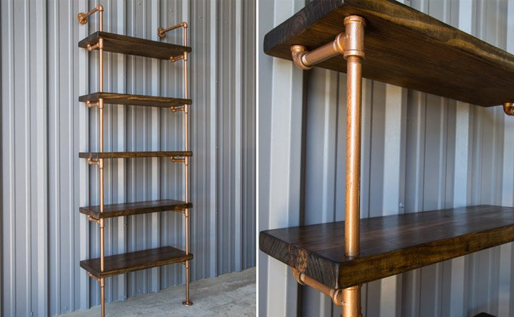 Industrial Style Copper Pipe And Dark Walnut Pine Shelving Unit