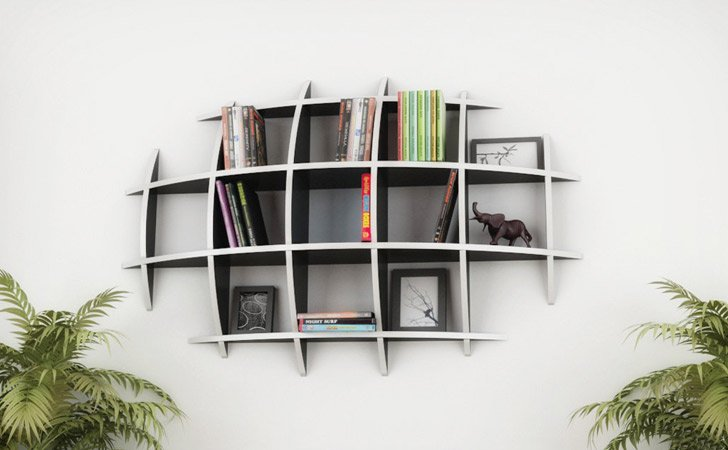 oval floating shelves cool bookshelves - Weird Bookshelves