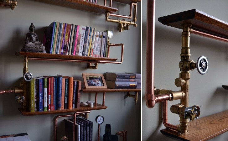 steampunk industrial bookshelf - Funky Bookshelves