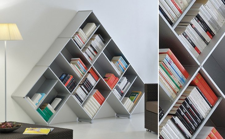 the fitting pyramid bookcase cool bookshelves - Funky Bookshelves