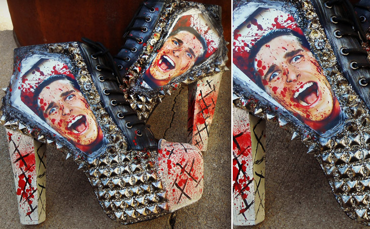 """American Psycho"" Studded Ankle Boot Heels - weird shoes"