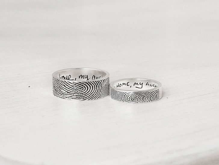 Actual Fingerprint His and Hers Promise Rings