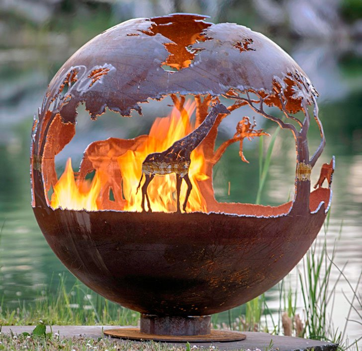 African Safari Sphere Fire Pit - 40 Incredibly Cool Fire Pits You Can Buy For Your Home!