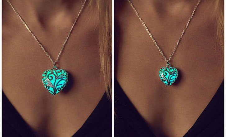 Aqua Glowing Heart Necklaces