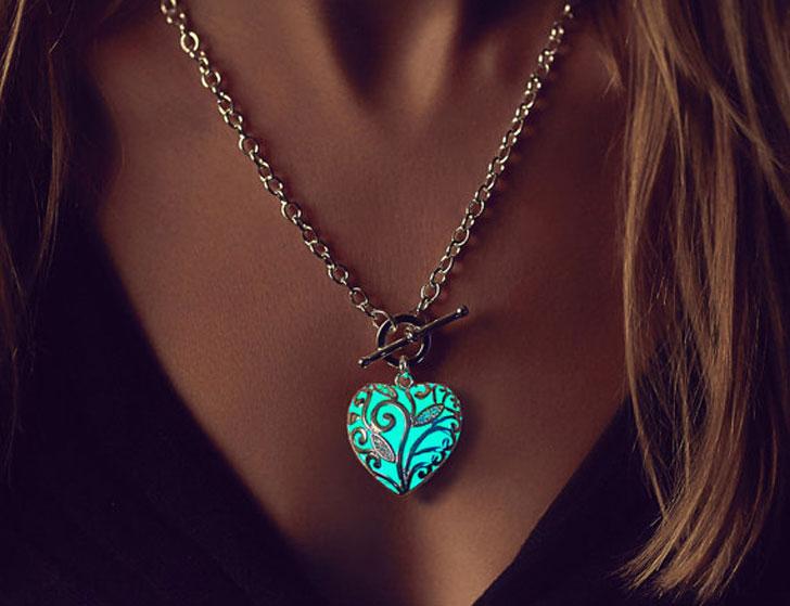 Aqua Glowing Heart Necklaces