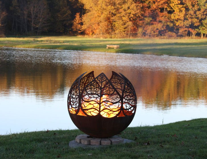 Autumn Sunset Leaf Fire Pit - cool fire pits