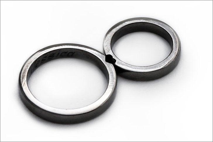 Black Silver Promise Ring Set