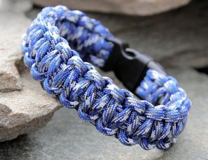 Blue Camo 500 Paracord Survival Bracelet