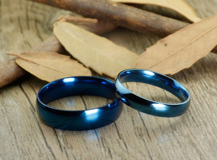 Blue Titanium Personalized Promise Ring Set