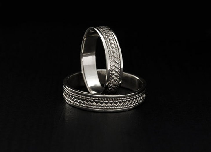 Braided Silver Promise Rings