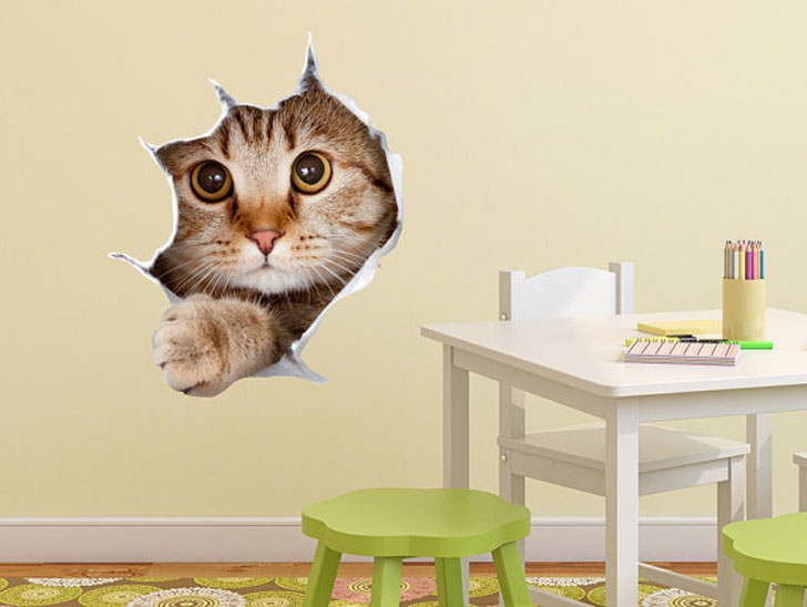 Cat 3D Wall Decal
