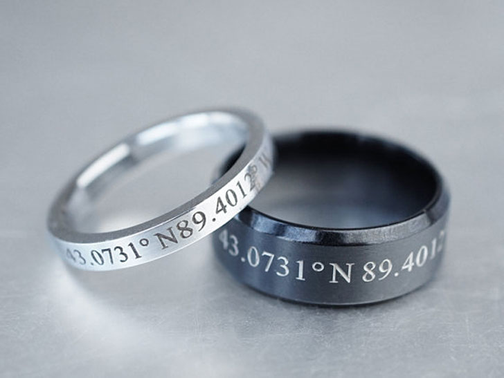 Custom Coordinates Couples Ring Set