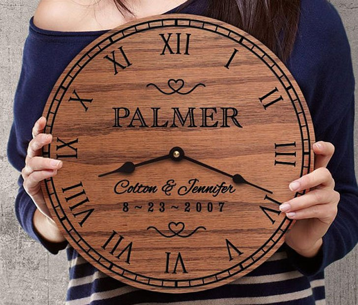 Customised Oak Clock for Parents Anniversary