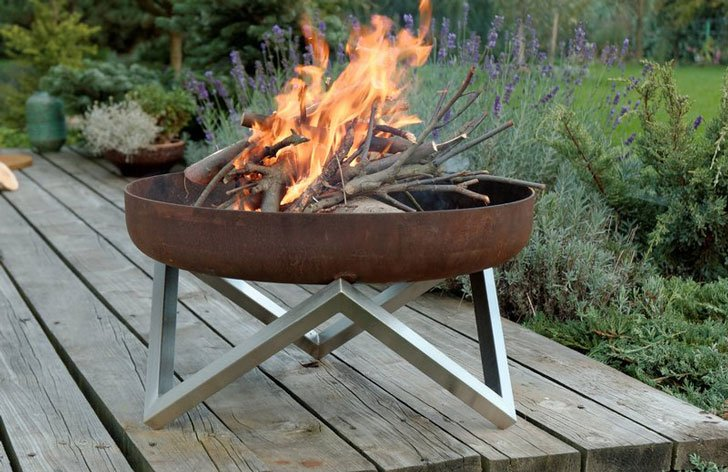 Deep Stone Stainless Steel Wood Burning Fire Pit
