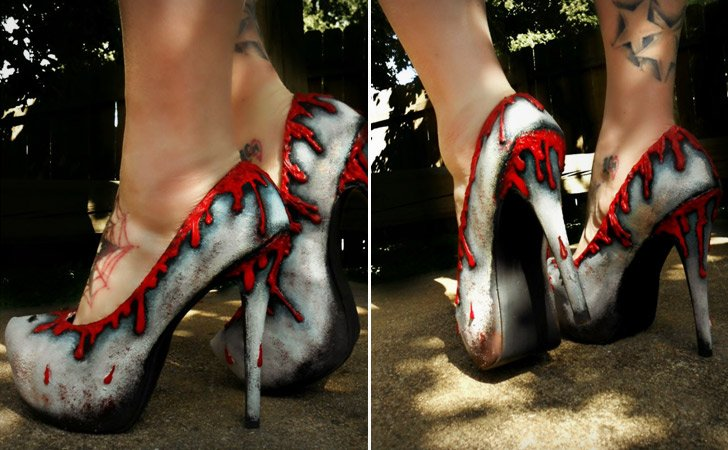 Distressed Blood Lust Pumps - weird shoes crazy shoes