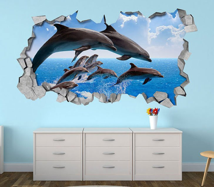 Dolphin Pod 3D Wall Decal