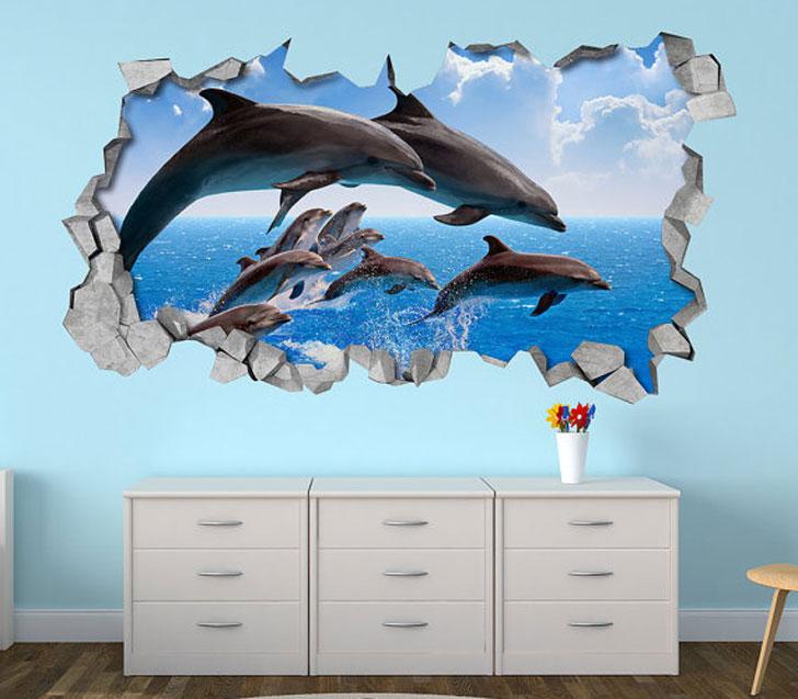 Dolphin Pod 3D Wall Decal