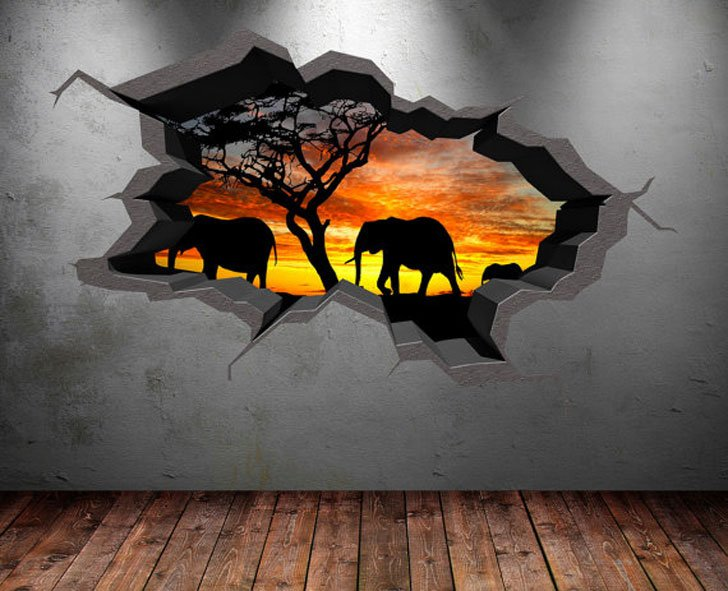 Elephant Safari Wall Decal