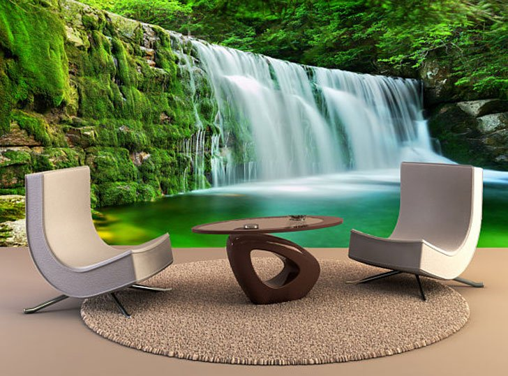 Emerald Green Waterfall Wall Decal