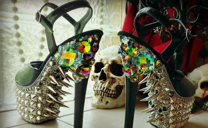 Exotic Studded Crystal Fetish Heels