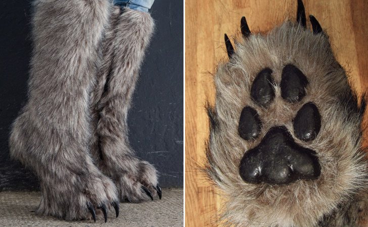 Faux Fur Claw Boots